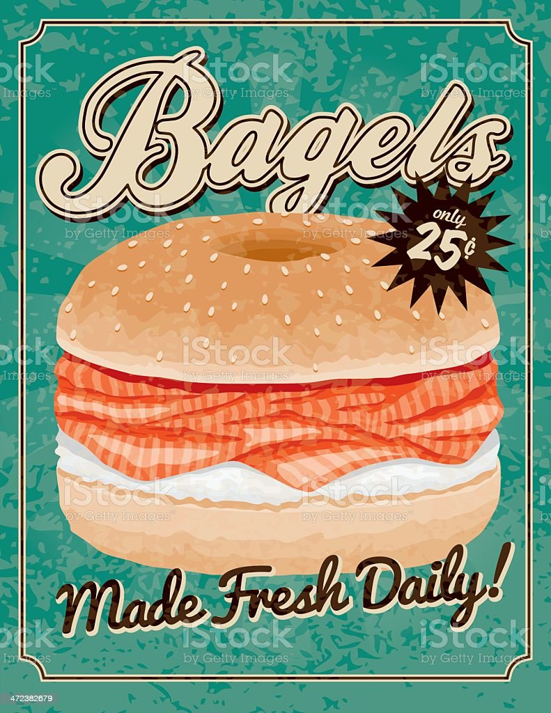 Vintage Bagels Poster vector art illustration