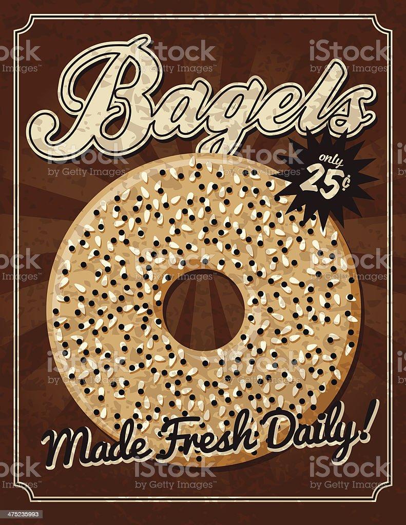 Vintage Bagels Poster vector art illustration