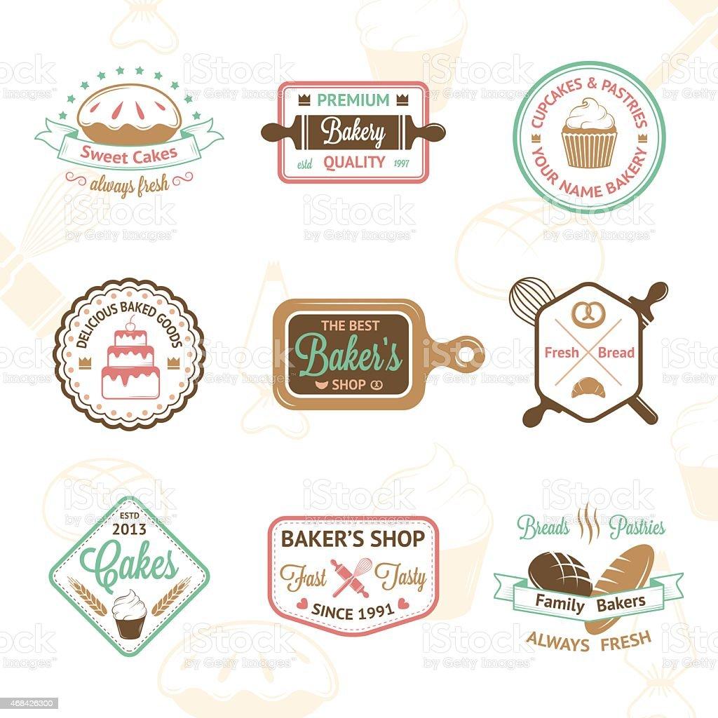 Vintage bakery badges, labels and logos vector art illustration