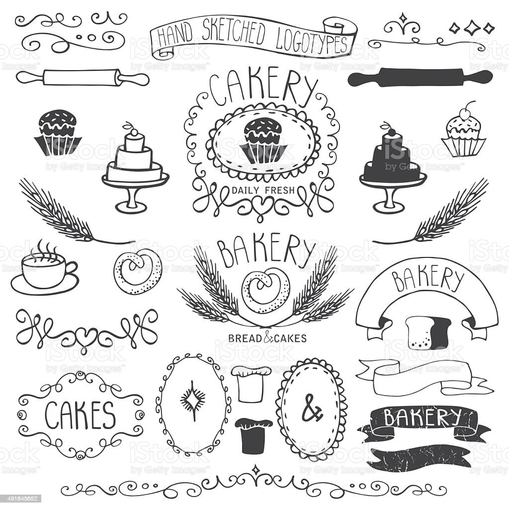 Vintage Bakery Labels element set.Hand sketched.Outline vector art illustration