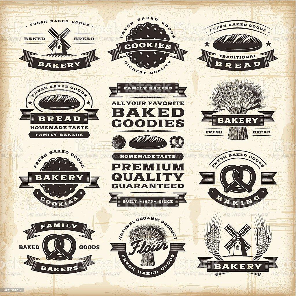 Vintage bakery labels set vector art illustration