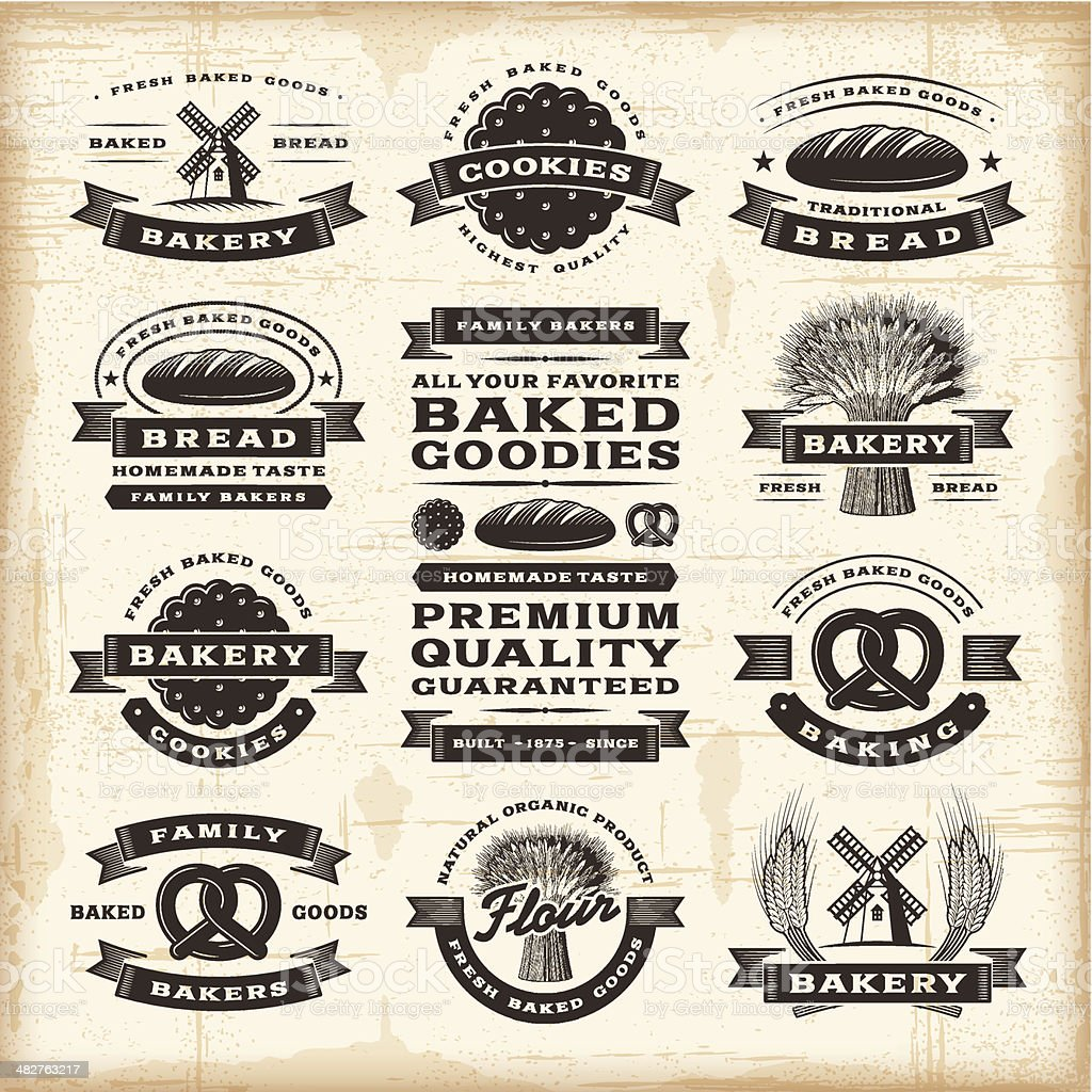 Vintage bakery labels set vector art illustration