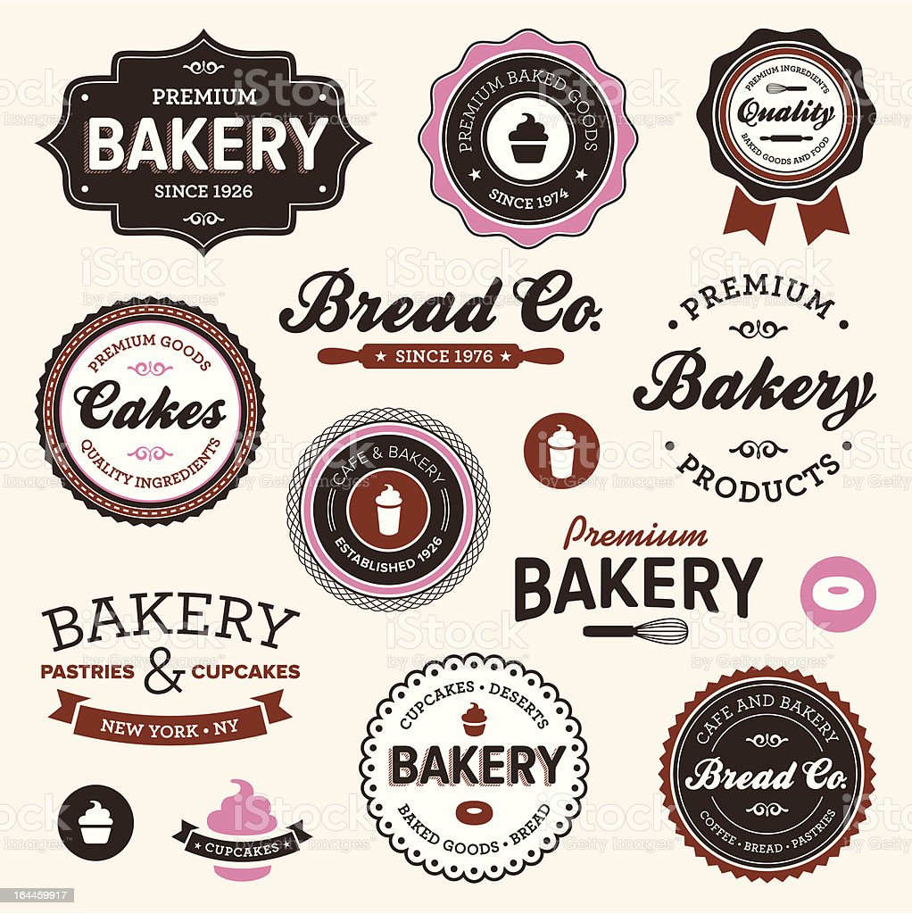 Vintage bakery labels vector art illustration