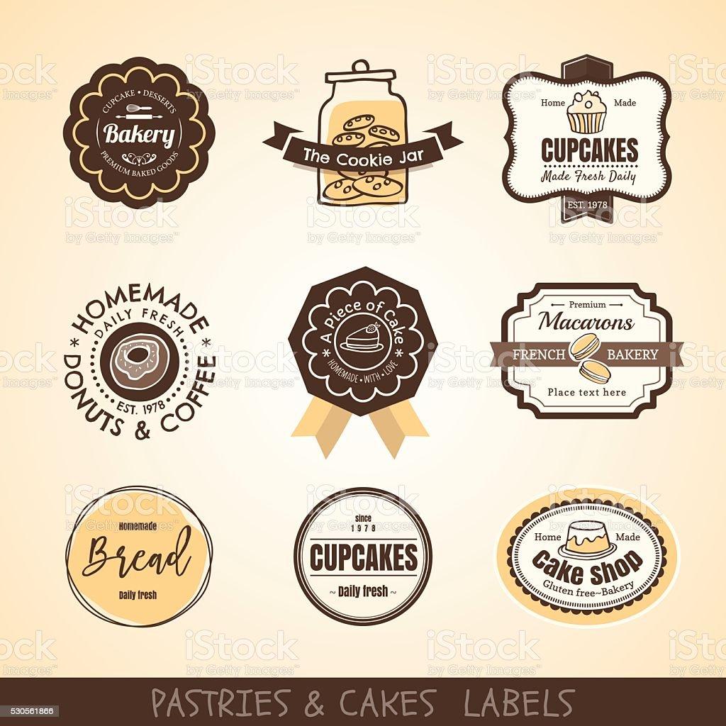 Vintage bakery logo labels and frames vector art illustration