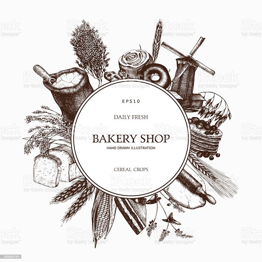 Vintage bakery sketch background. vector art illustration