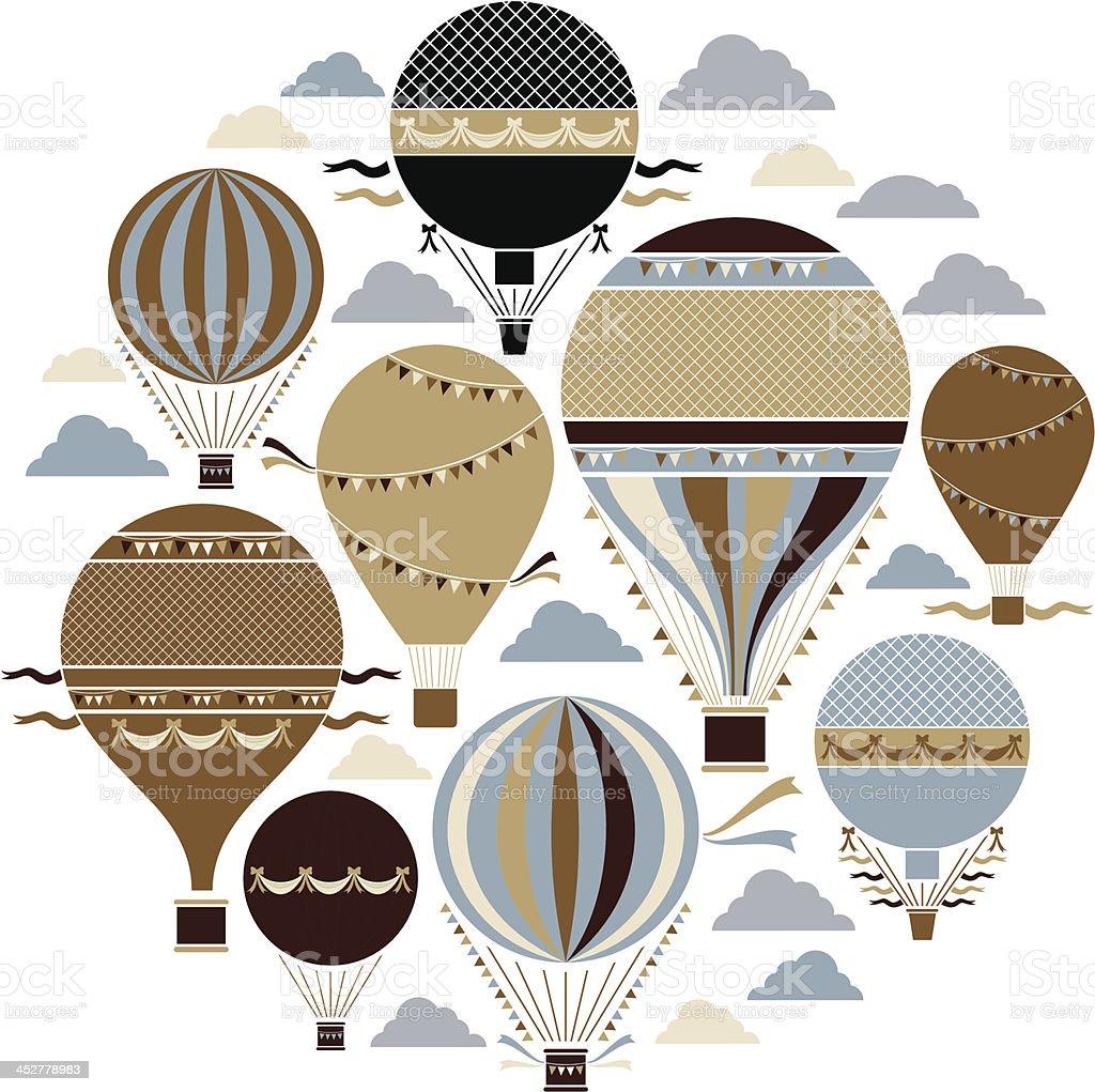 Vintage Balloon Set vector art illustration