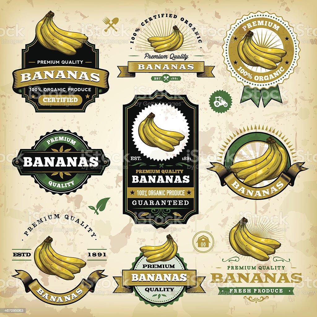 Vintage Banana Labels vector art illustration
