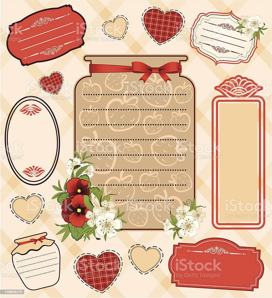 Vintage bank with strawberry and flowers. Vector royalty-free stock vector art