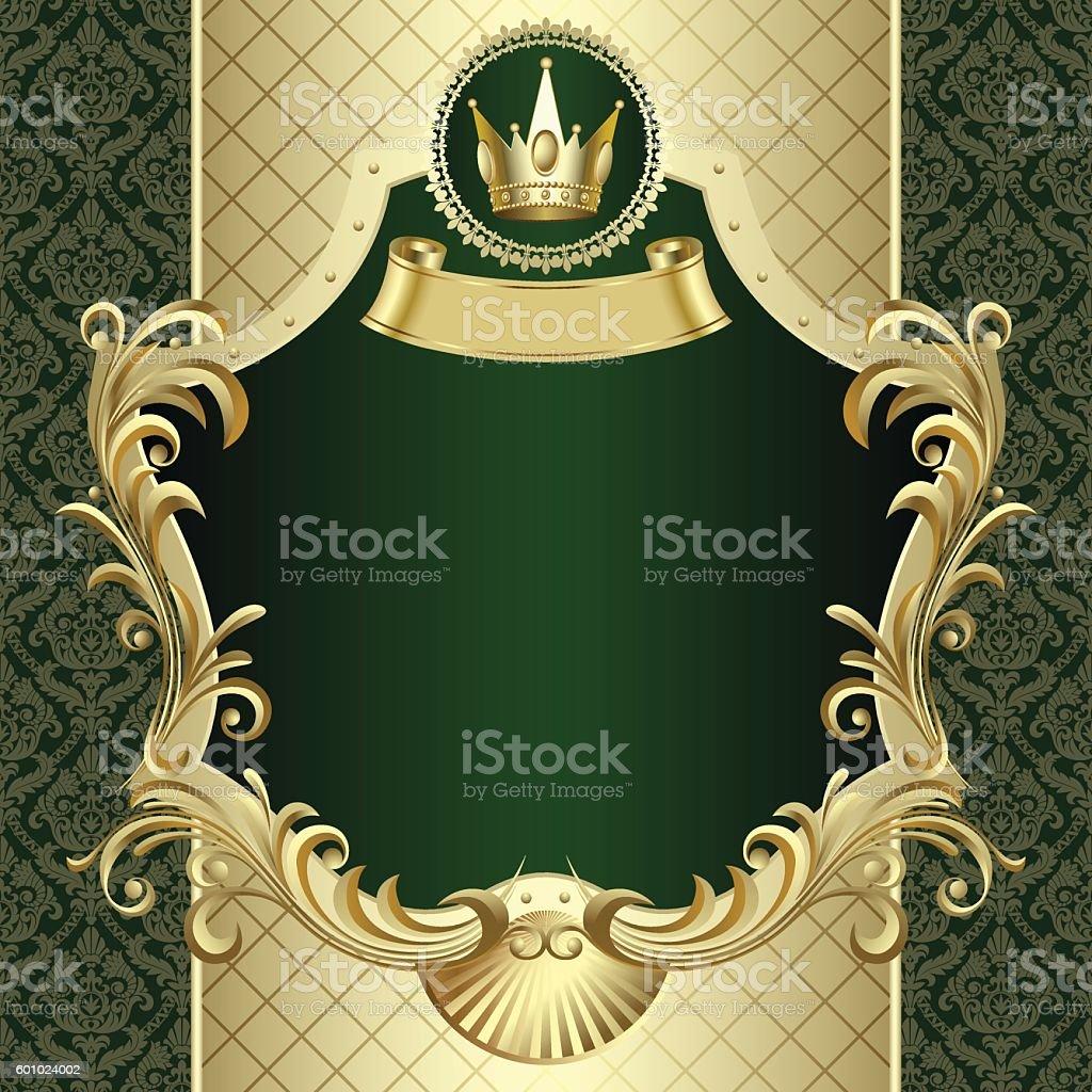 Vintage banner with a crown on dark green baroque background vector art illustration