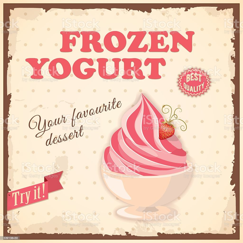 vintage banner with strawberry ice cream vector art illustration