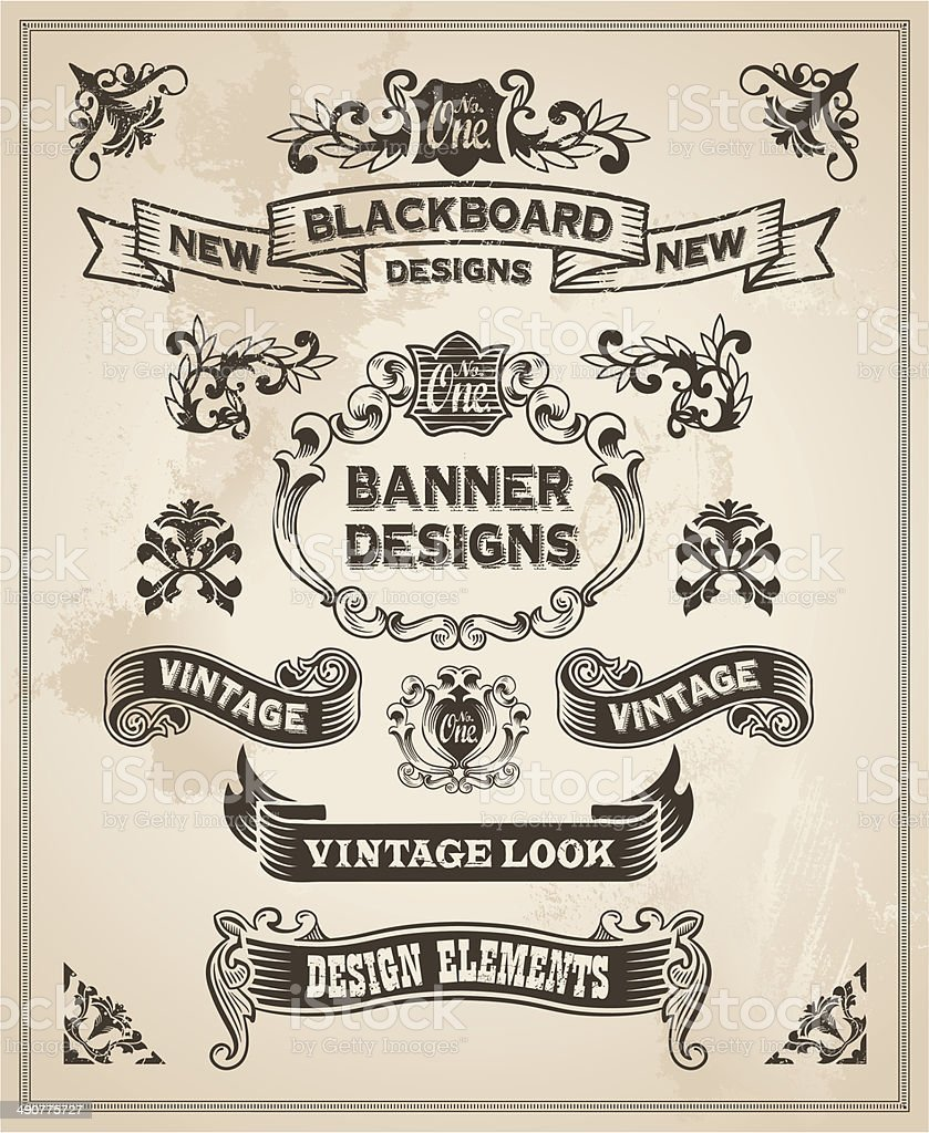 Vintage banners and Ribbons vector art illustration