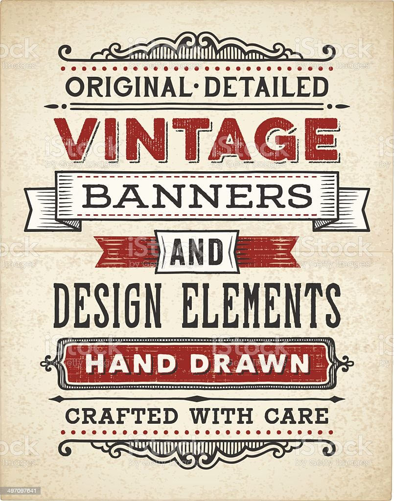 Vintage Banners Hand Drawn vector art illustration