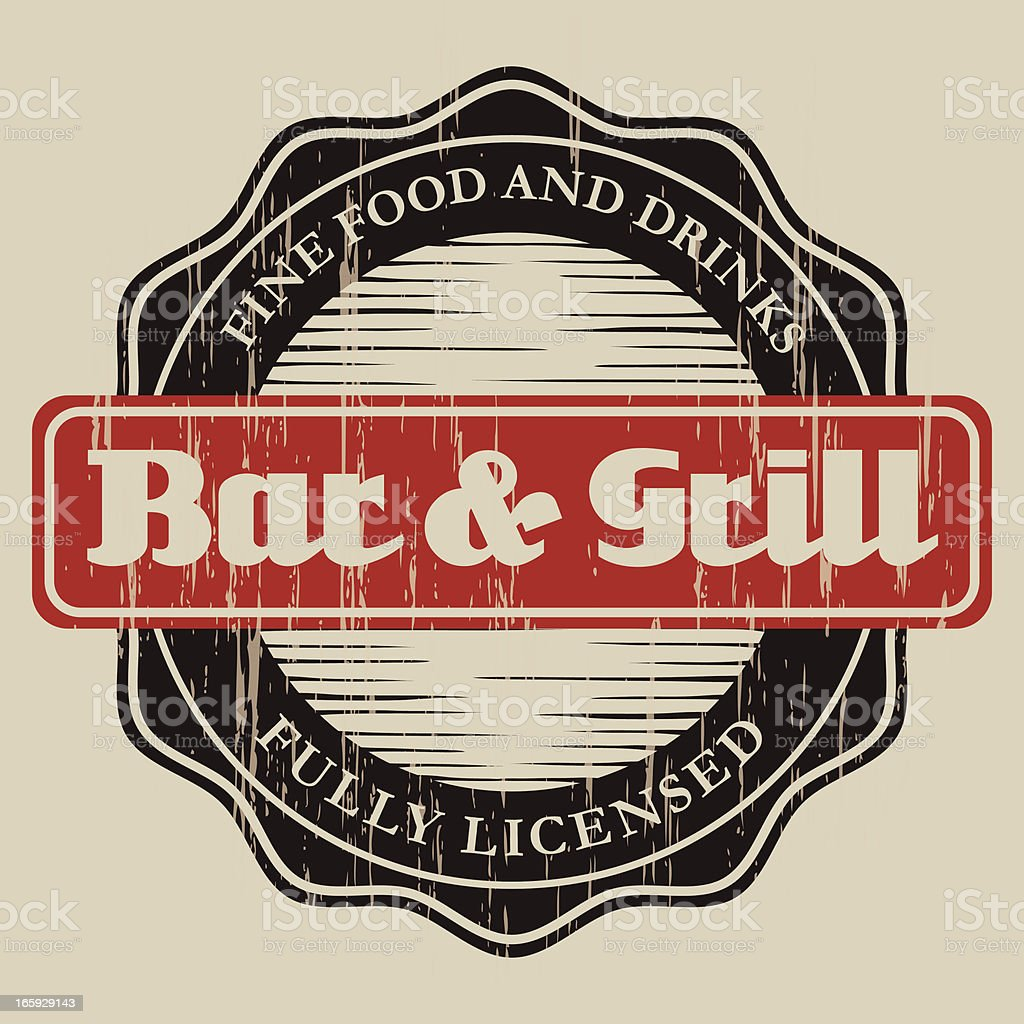 Vintage Bar & Grill Label royalty-free stock vector art