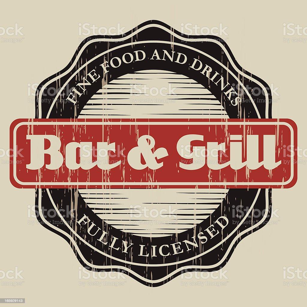 Vintage Bar & Grill Label vector art illustration