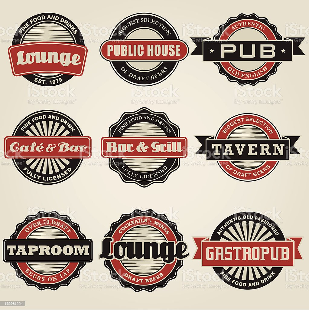 Vintage Bar Labels Icon Set royalty-free stock vector art