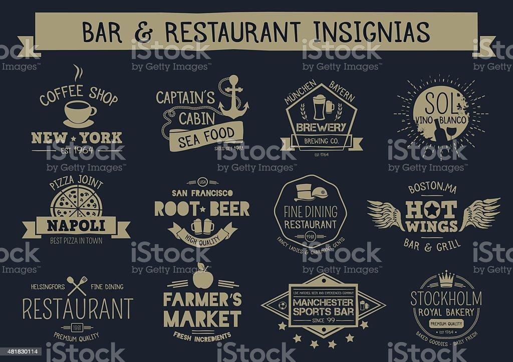 Vintage bar & restaurant insignias vector art illustration