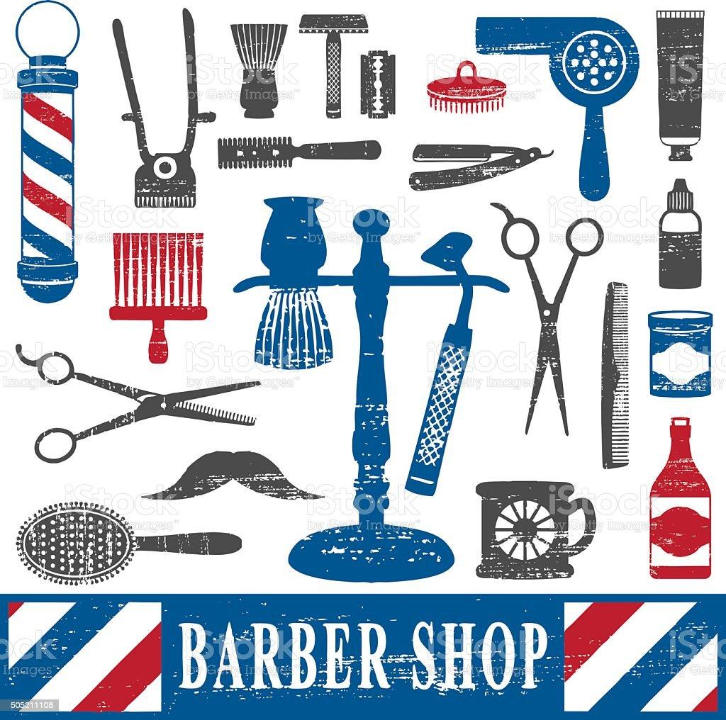 Vintage barber shop tools silhouette icons set 2 vector art illustration