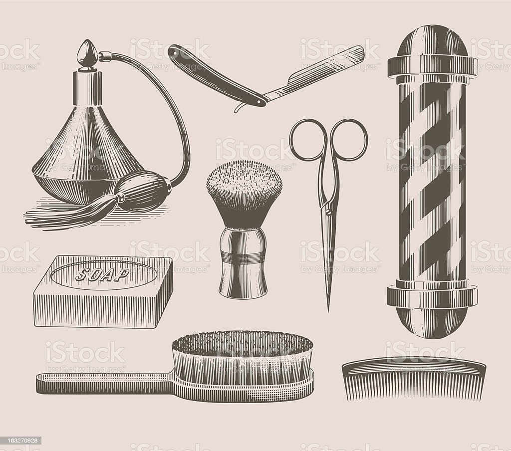 Vintage barbershop objects vector art illustration