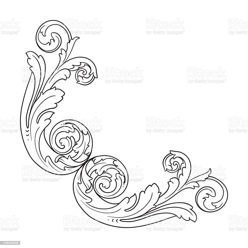 Vintage baroque corner engraving scroll ornament vector art illustration