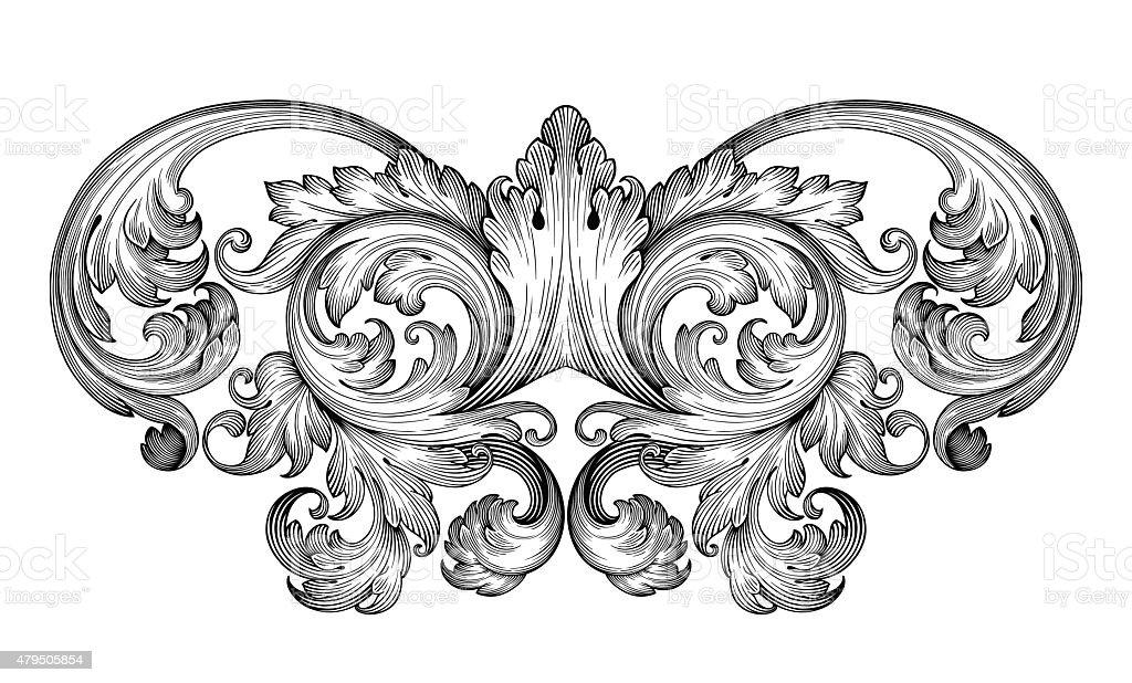 Vintage baroque frame engraving  scroll ornament vector art illustration