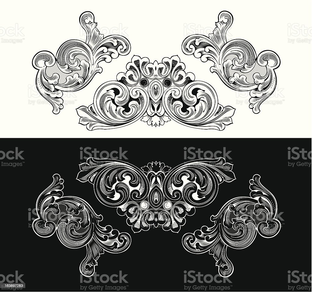 Vintage Baroque Frames And Design Elements royalty-free stock vector art
