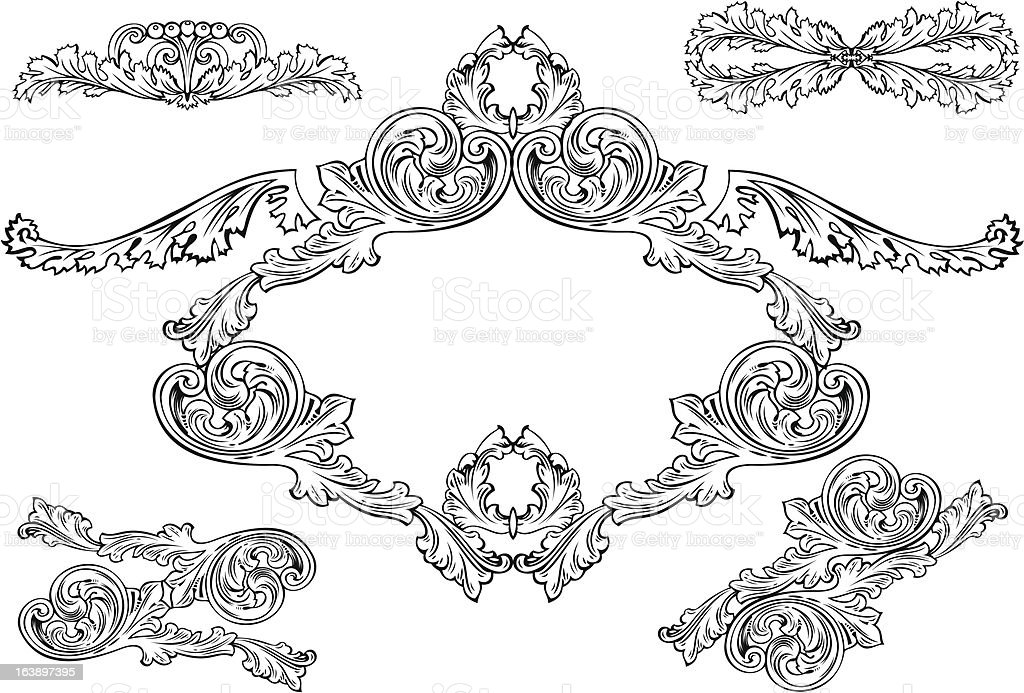 Vintage baroque frames and design elements stock vector for Baroque architecture elements