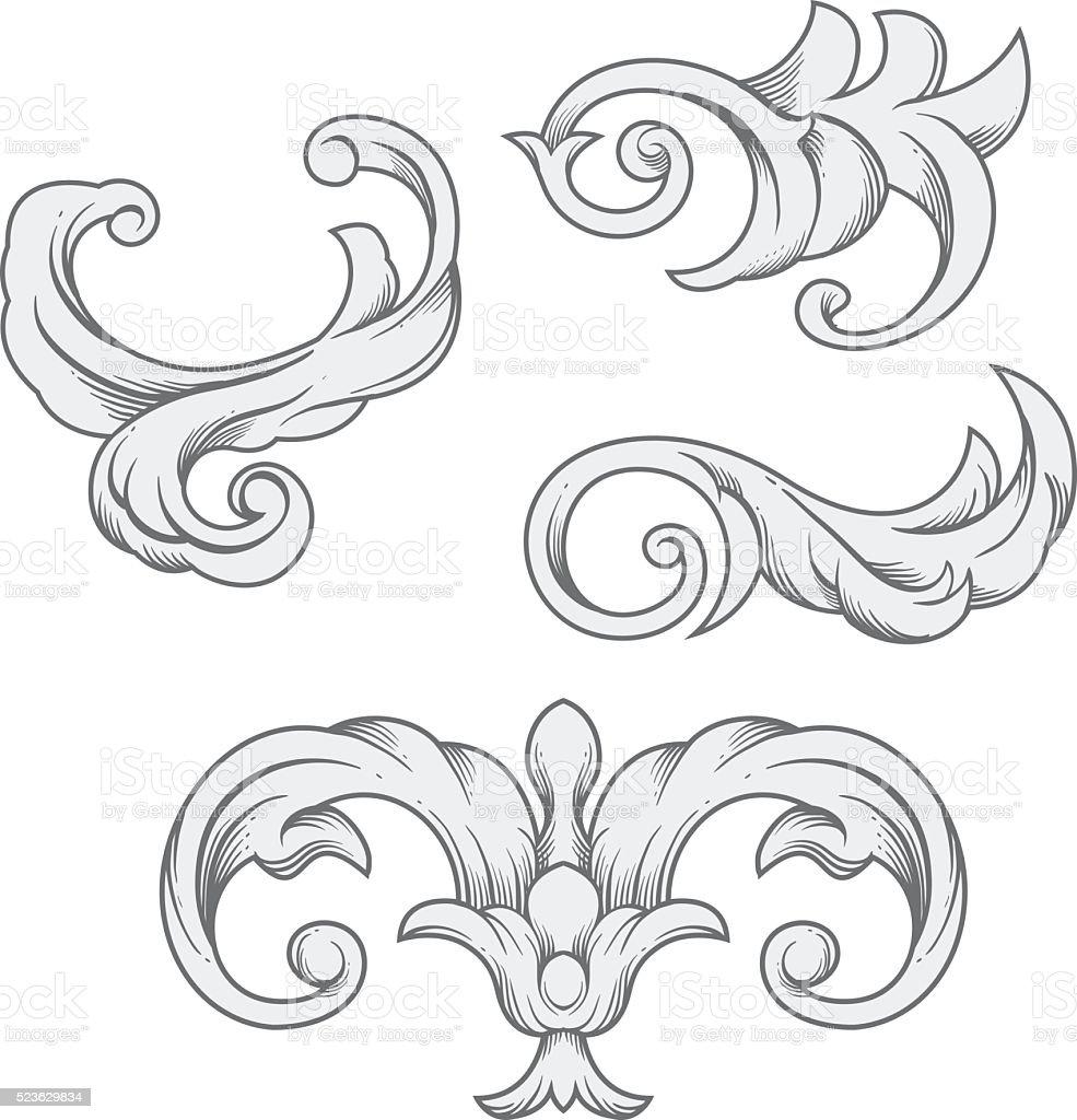 Vintage baroque leaf. Vector illustration vector art illustration