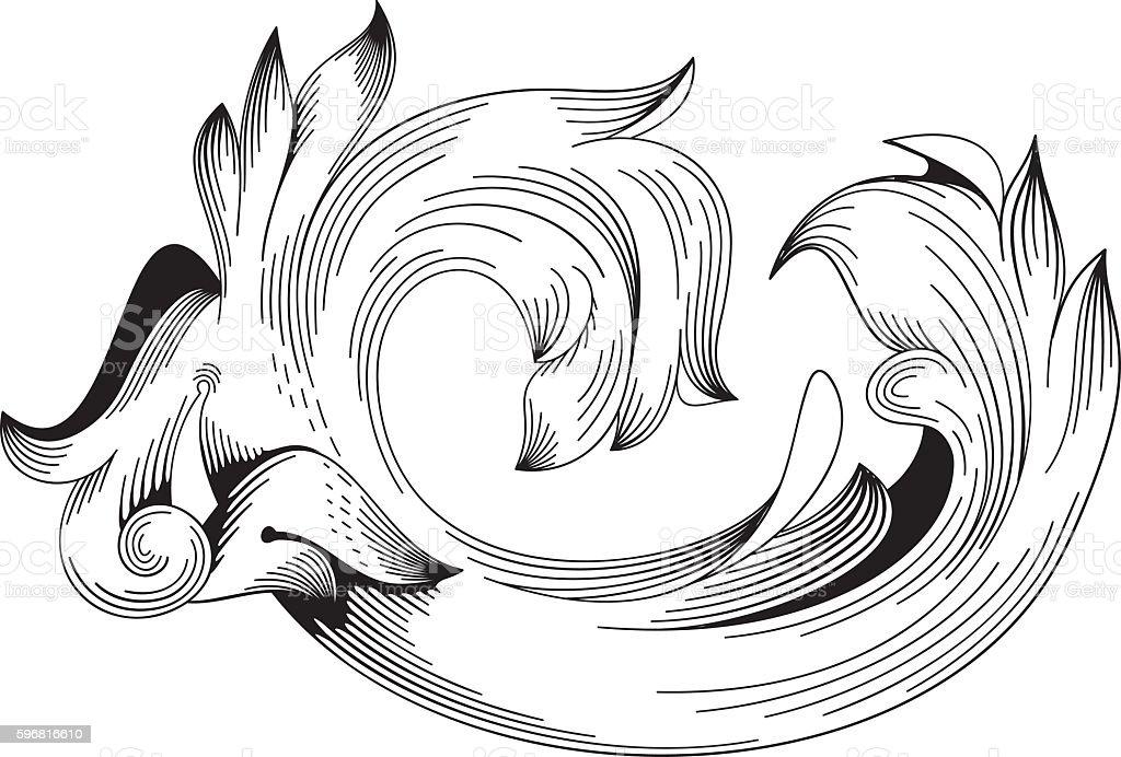 Vintage Baroque Ornament Swirl Victorian Engraving Floral Filigree vector art illustration
