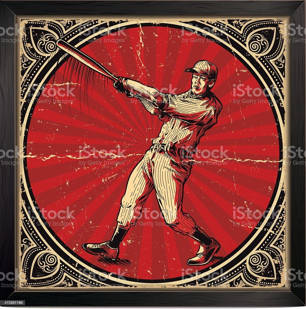 Vintage baseball batter card with red and gold elements vector art illustration