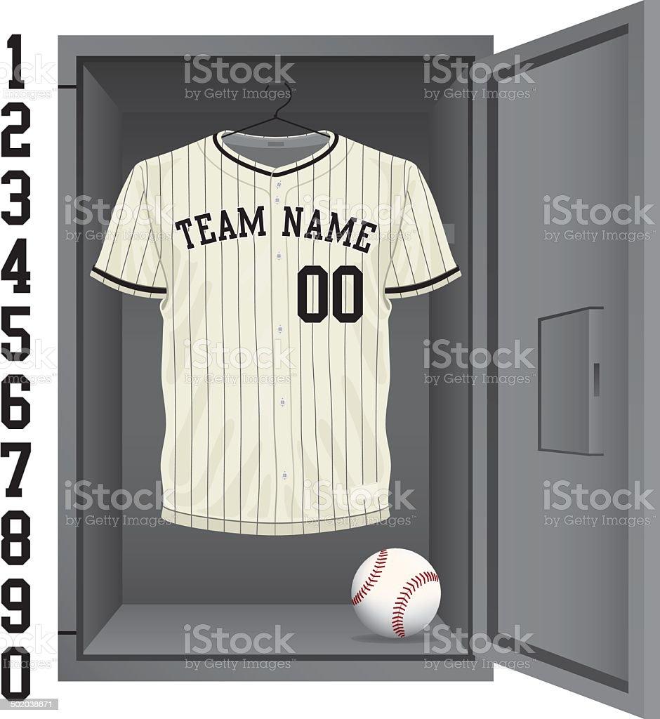 Vintage Baseball Jersey Locker vector art illustration