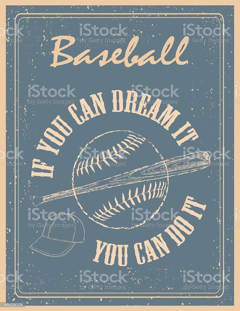 vintage baseball poster vector art illustration
