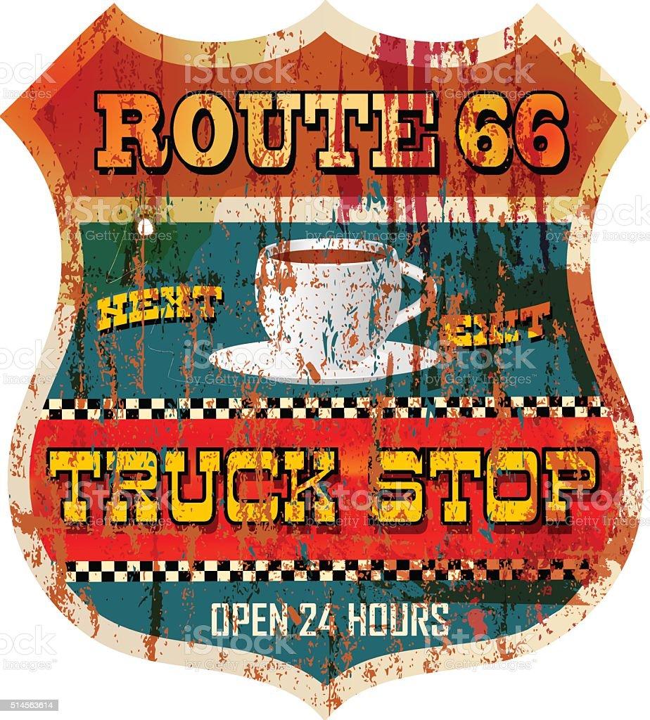Vintage battered route 66 truck stop sign vector art illustration