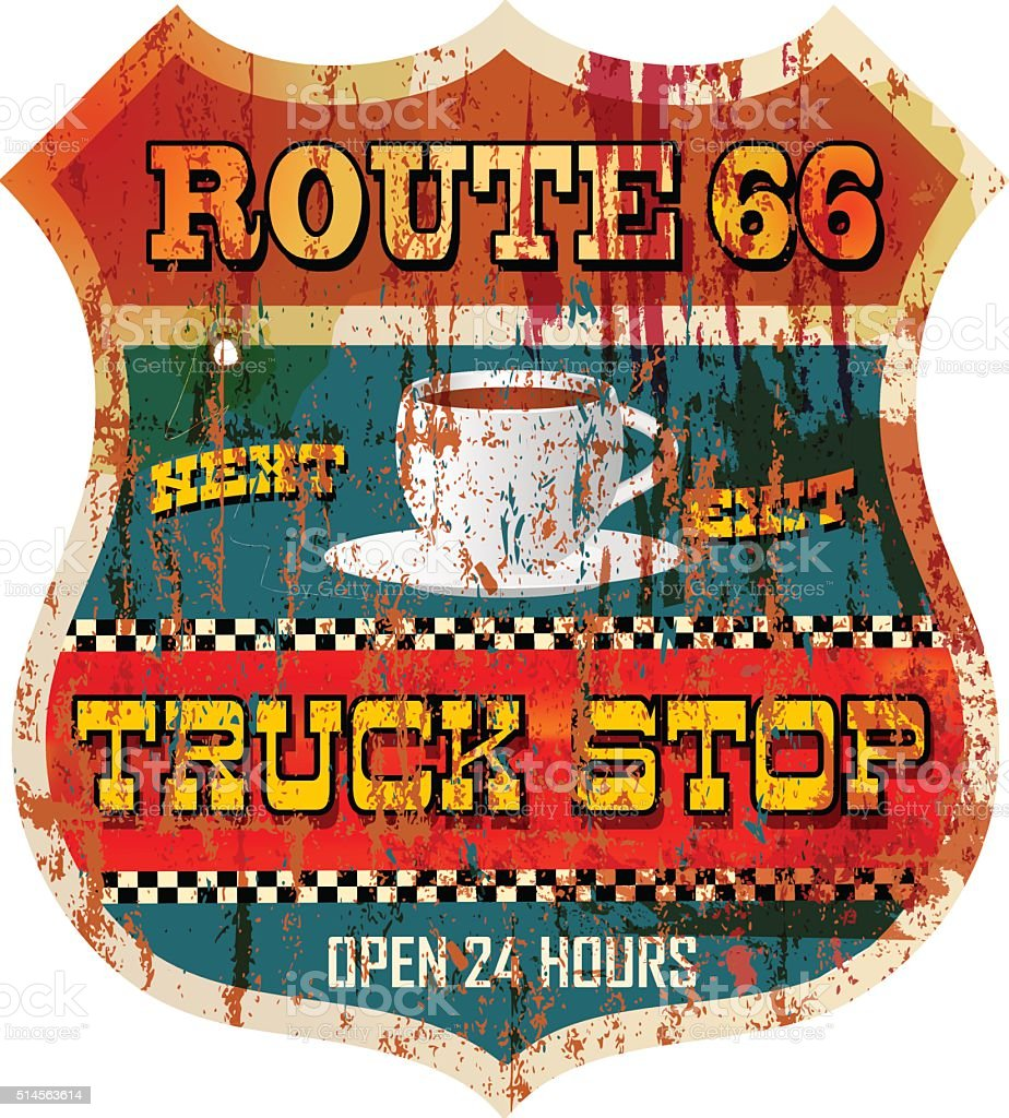 Vintage battered route 66 truck stop sign vector art illustration