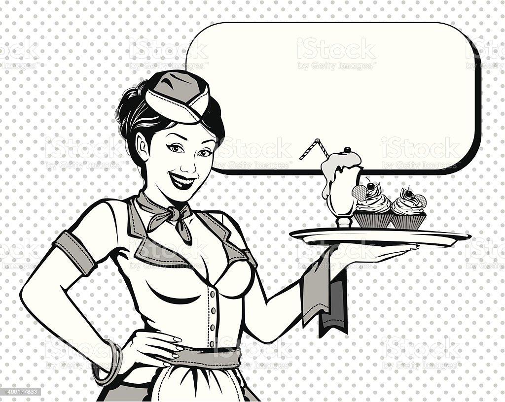 Vintage beautiful waitress vector art illustration