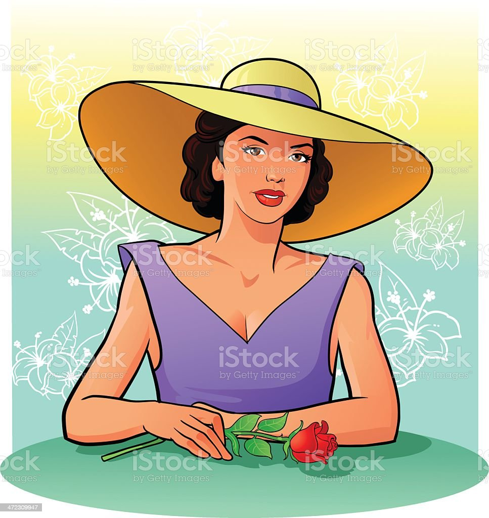 Vintage Beauty With Hat Holding Red Rose vector art illustration