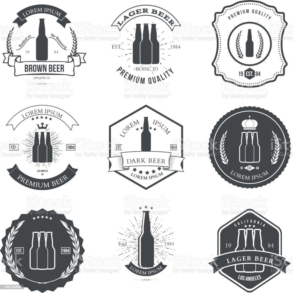Vintage beer emblems, labels and design elements vector art illustration