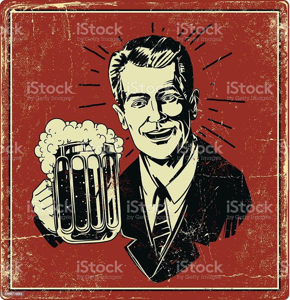 Vintage Beer Poster vector art illustration