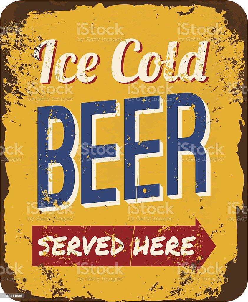 Vintage Beer Tin Sign vector art illustration