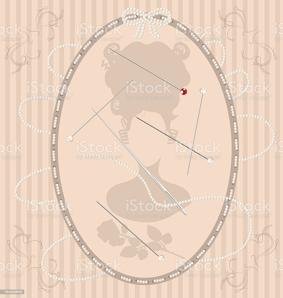 vintage beige background with beads needle and pin vector art illustration