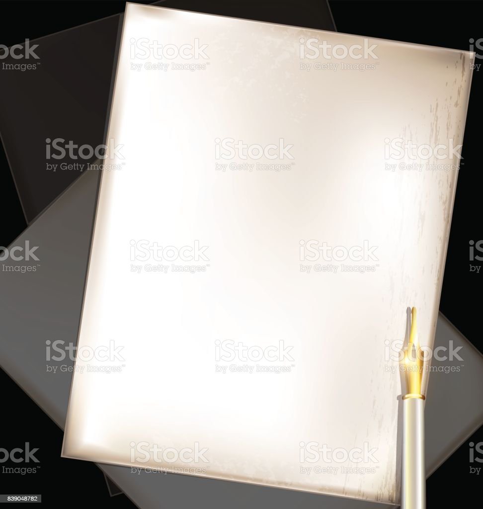 vintage beige pages and writing pen vector art illustration