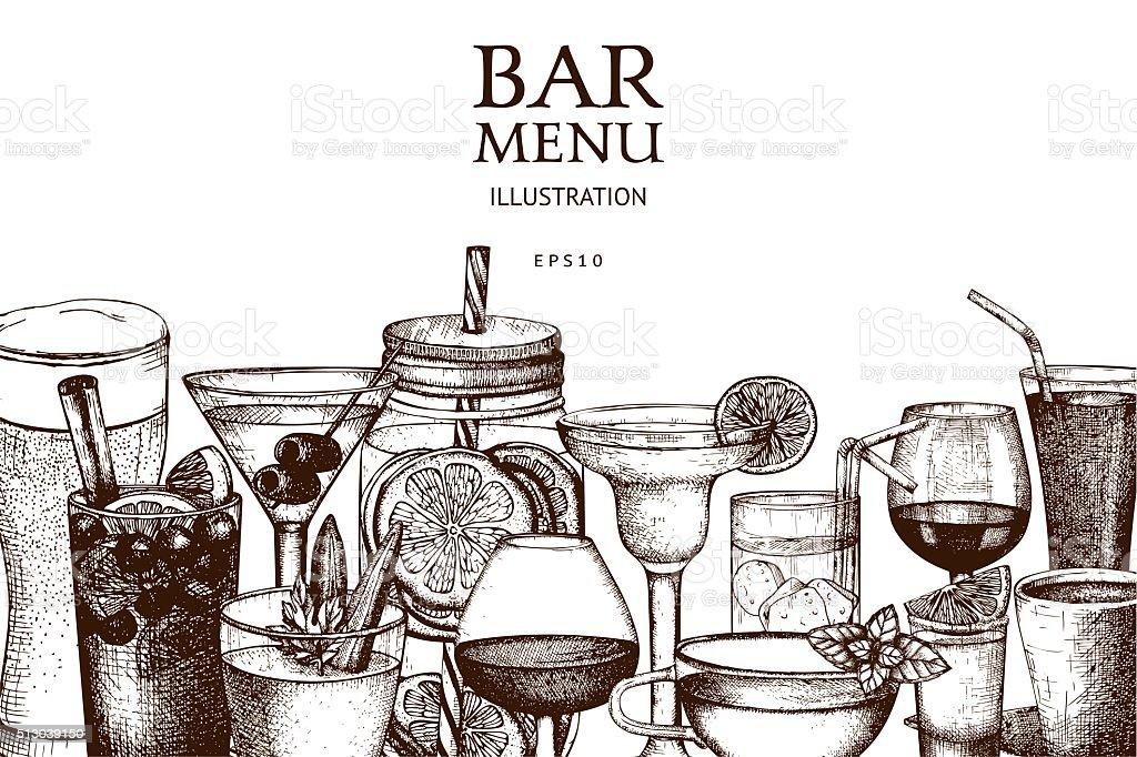 Vintage beverages sketch background. vector art illustration
