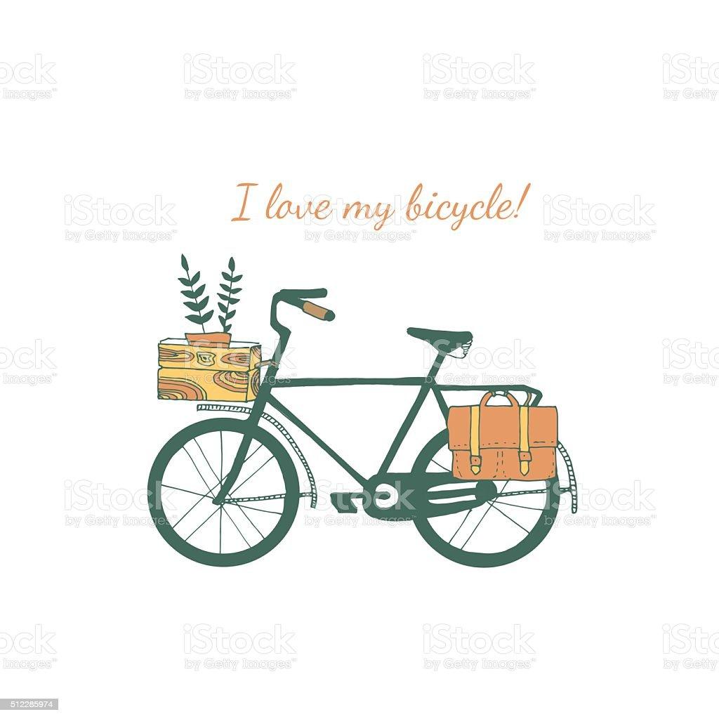 Vintage bicycle illustration. vector art illustration