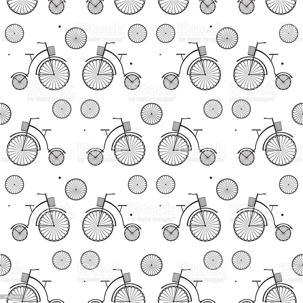Vintage Bicycle Seamless Vector Background vector art illustration