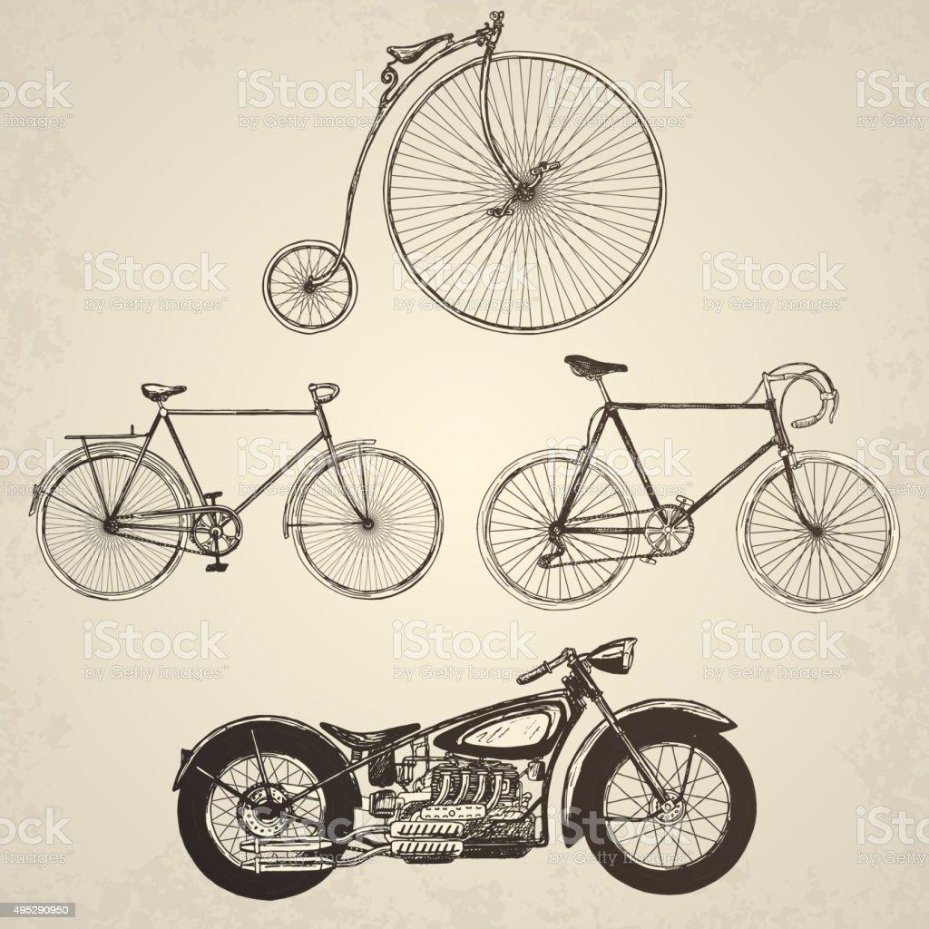 Vintage bicycles set. vector art illustration