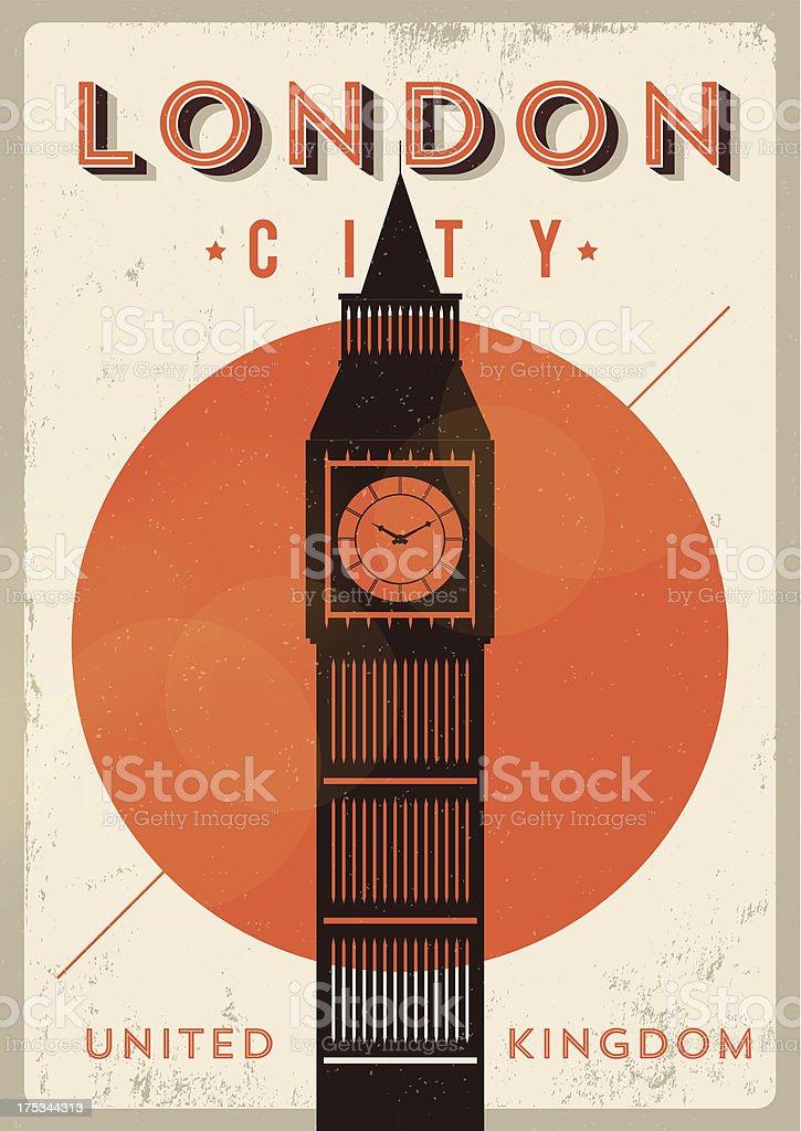 Vintage Big Ben, London City Poster vector art illustration