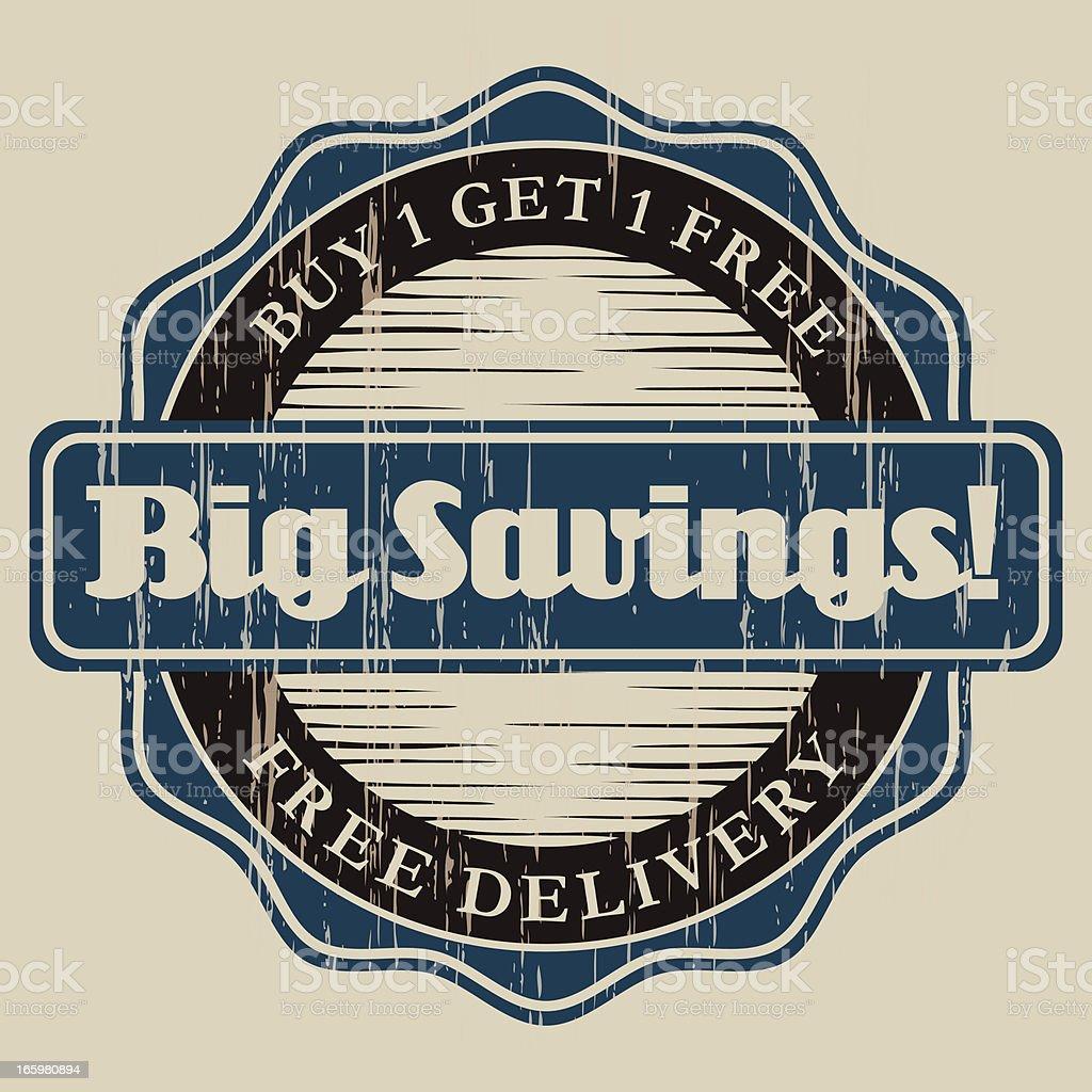 Vintage Big Savings Label royalty-free stock vector art