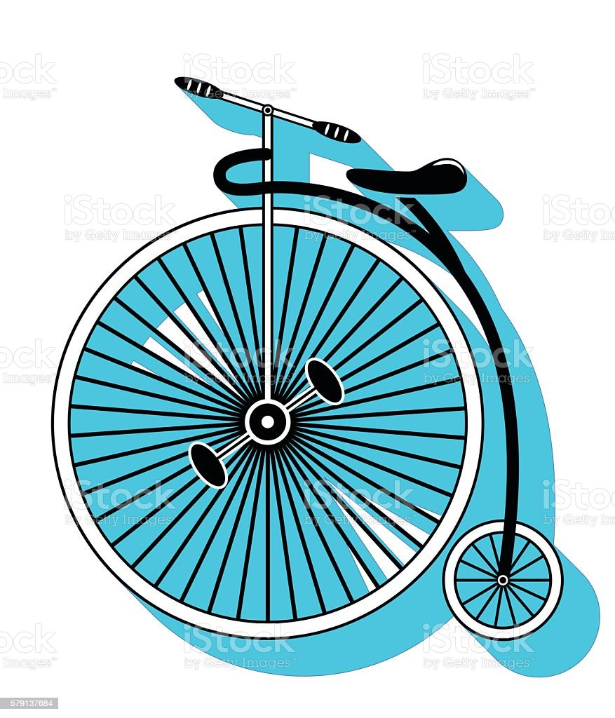 Vintage bike  with one big wheel and curved frame vector art illustration