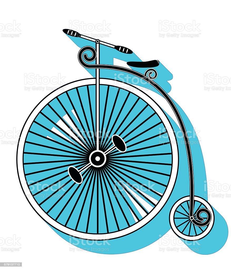 Vintage bike  with one big wheel and swirly bike frame illustration vector art illustration