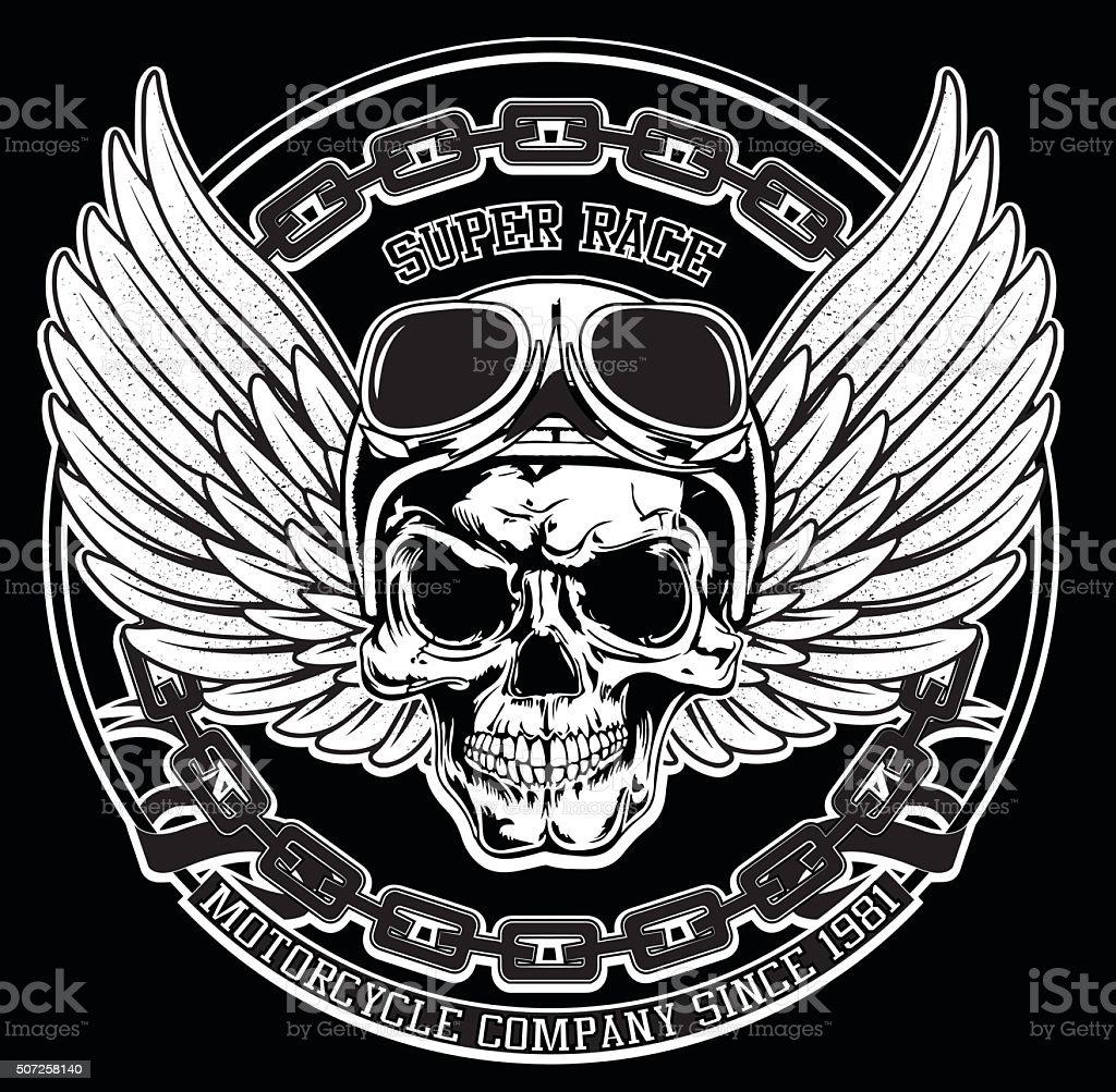 Vintage Biker Skull Emblem Tee Graphic vector art illustration