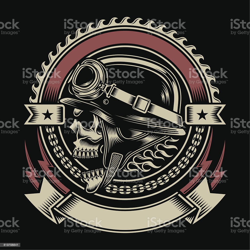 Vintage Biker Skull Emblem vector art illustration